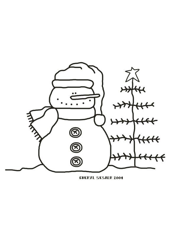 snowman & tree | Snowman coloring pages, Christmas tree ...