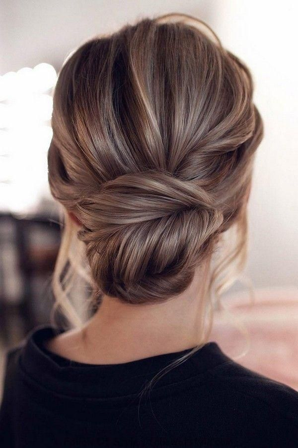 Wedding Hairstyles Messy Updo Low Bun Wedding Hairstyle From Tonyastylist Wedd Front Hair Styles Bridesmaid Hair Medium Length Wedding Hair Front