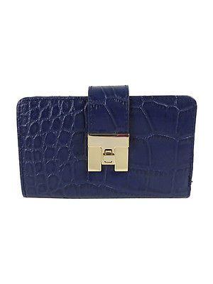 Tommy Hilfiger Turnlock Croco Leather Medium Flap Wallet Navy