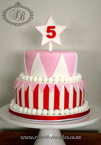 carnival cake- change pink color to blue and add a decoration in the middle of the triangles