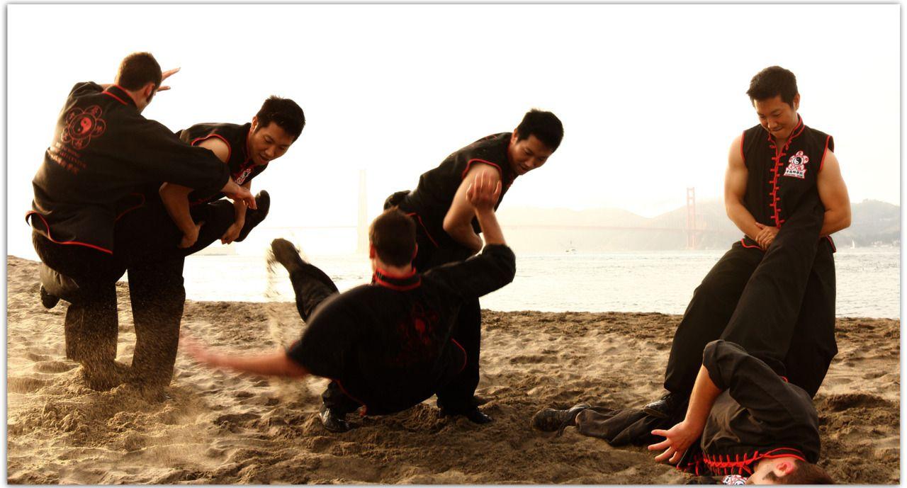 Kung fu on the beach near the golden gate bridge in san