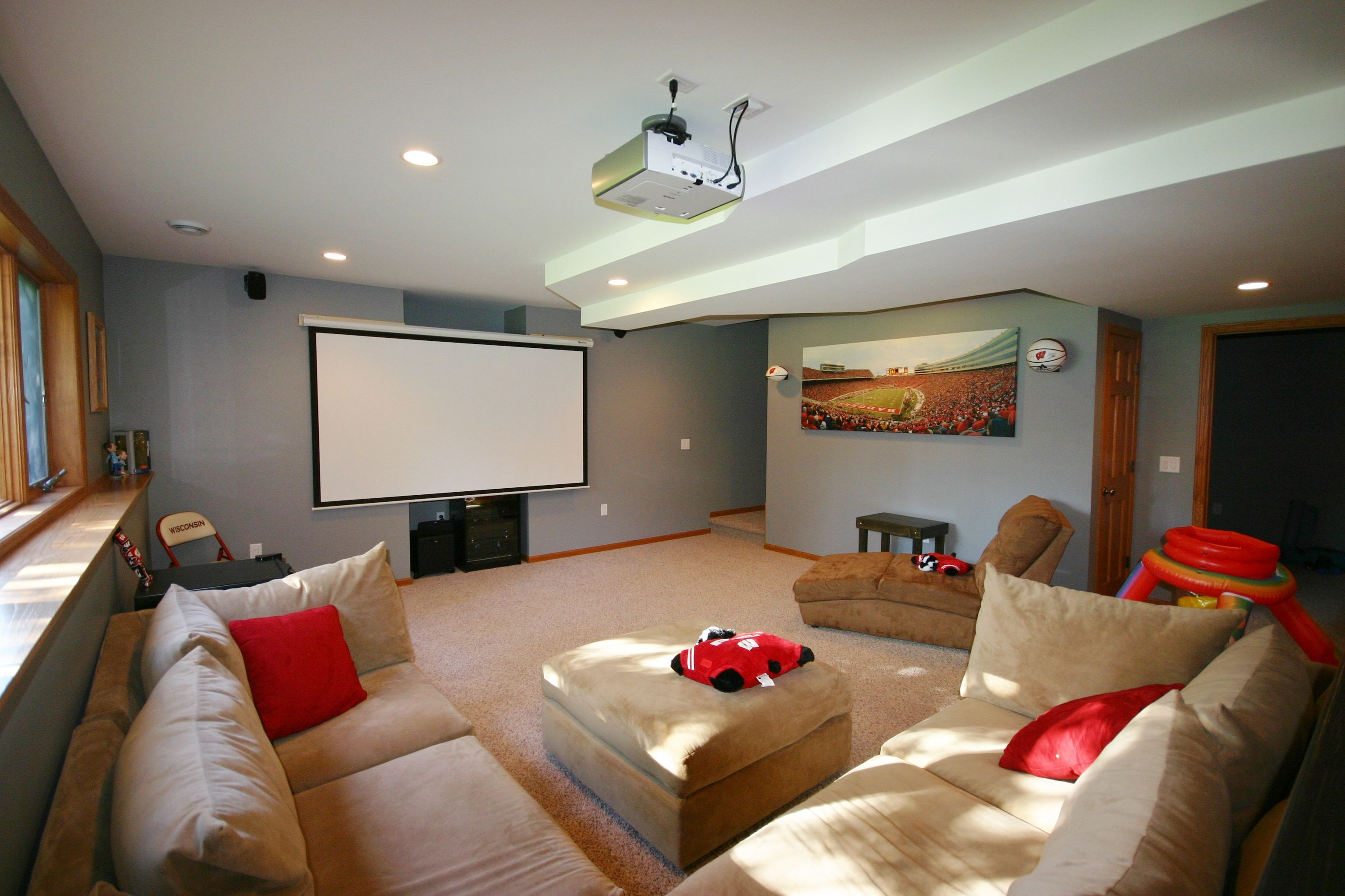 How to ventilate a basement - Basement Finish With Carpeting Oak Trimmed Ledge Projector Screen Man Cave
