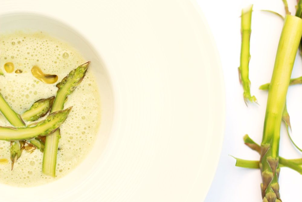 Asparagus soup recipe, served as a tapas!