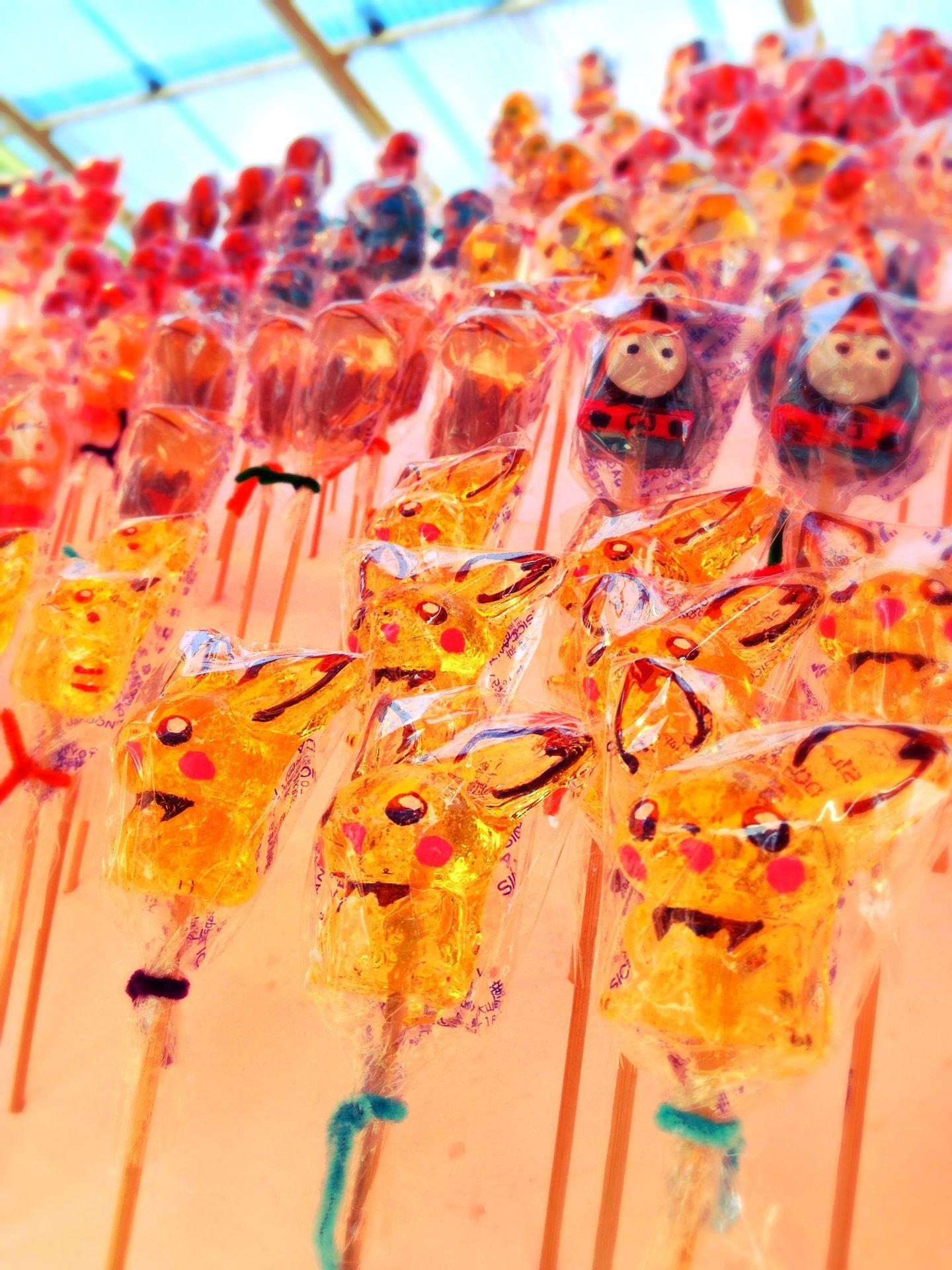 屋台のキャラクターキャンディ 夏祭り 屋台 お祭り イラスト スイーツ かわいい