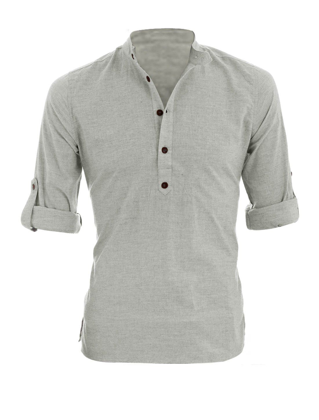 bbae99c8 Allegra K Men Half Placket Long Roll Up Sleeves Casual Shirt Light Gray L:  Amazon.co.uk: Clothing