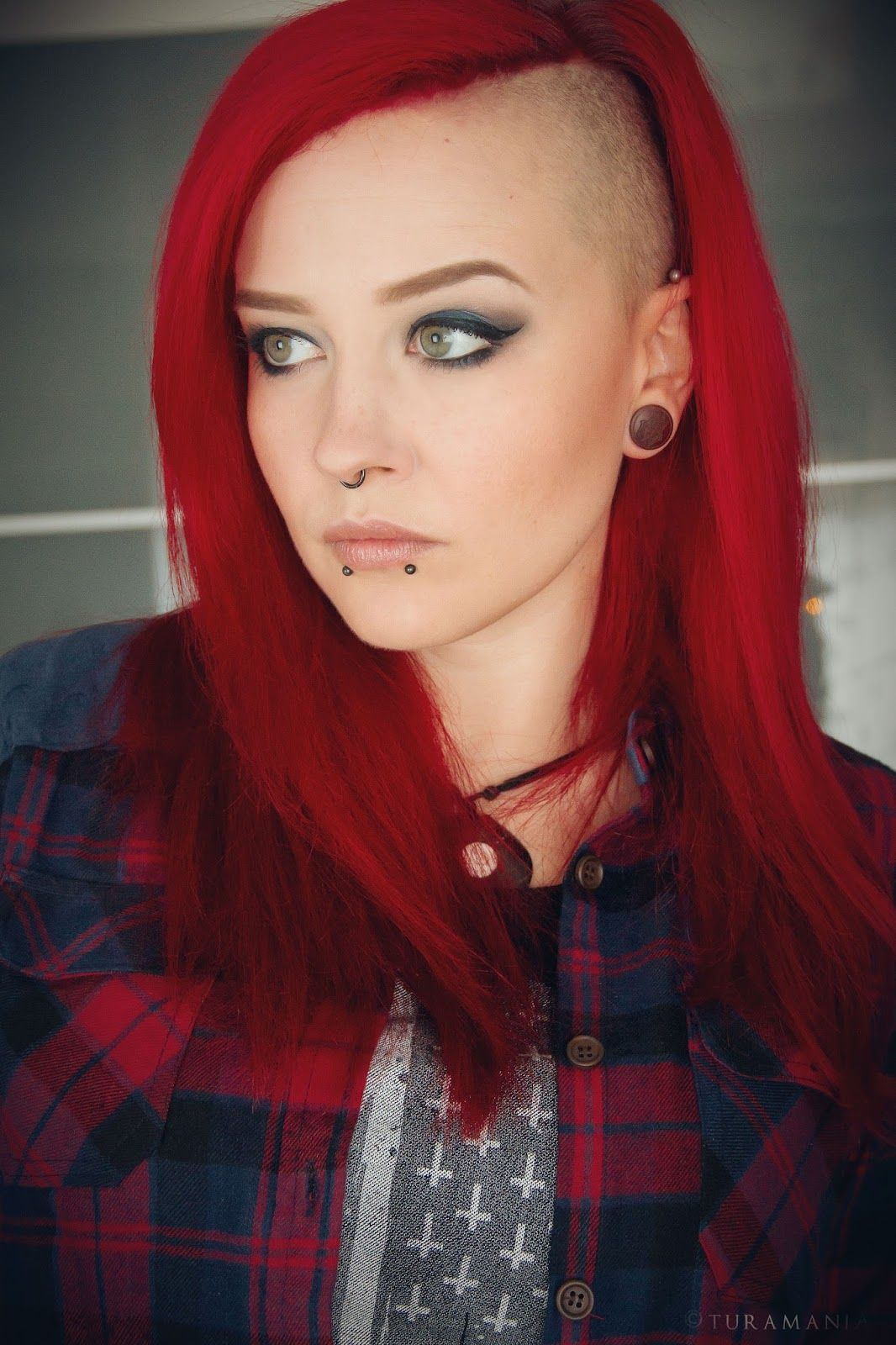 Bright Red Hair, Shaved Sidecut