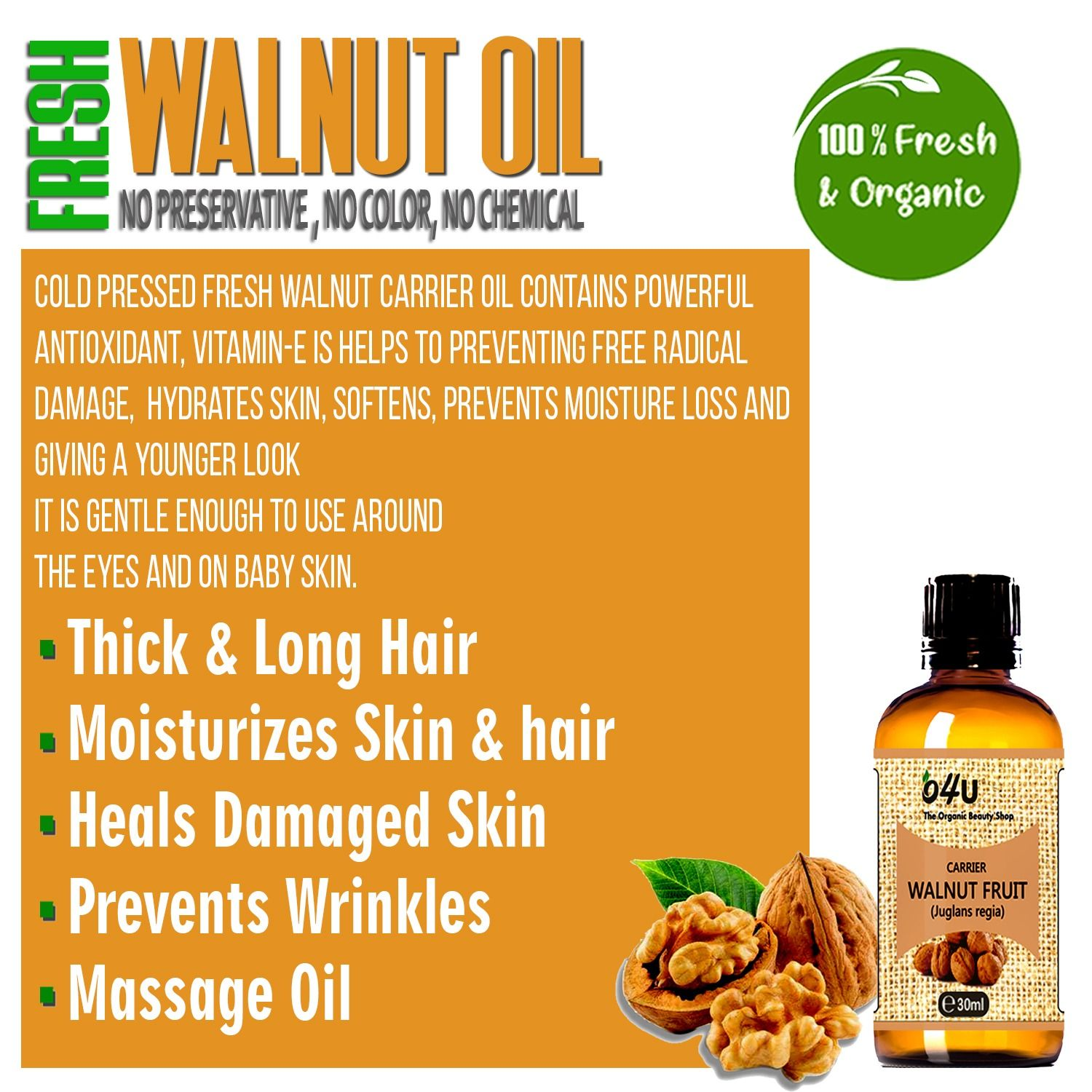 Walnut oil is great for fighting wrinkles. It has a greasy