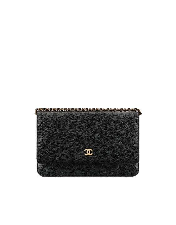 33f6ab662b8f9e Classics - grained calfskin & gold metal-black & burgundy | Chanel WOC,  wallet on chain $2100