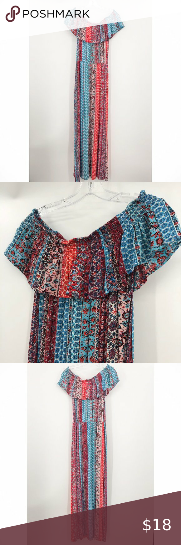 Xhilaration Maxi Dress In Red And Blue Print Printed Maxi Dress Printed Maxi Red And Blue [ 1740 x 580 Pixel ]