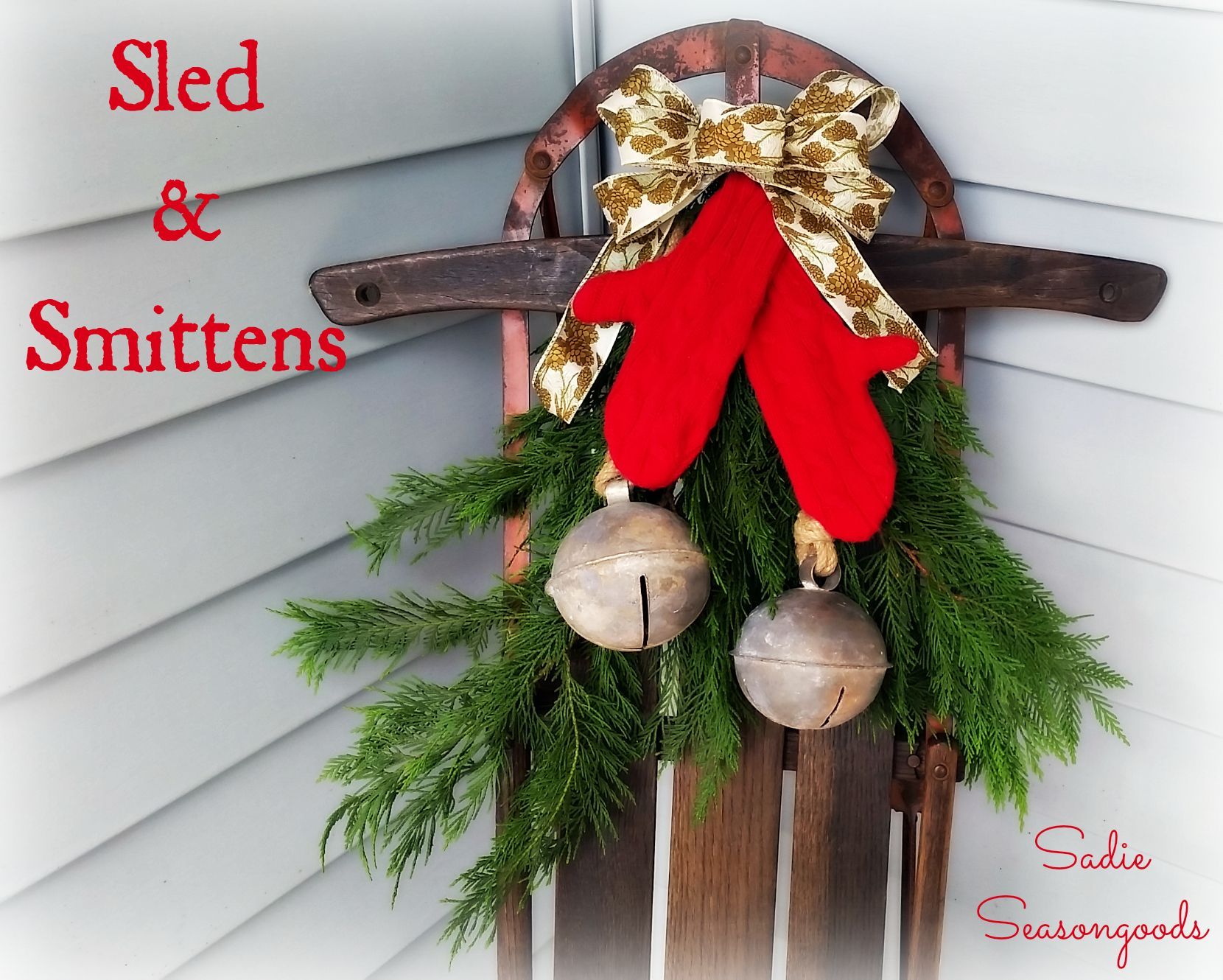 Instead of hanging vintage ice skates on an antique sled for Antique sled christmas decoration