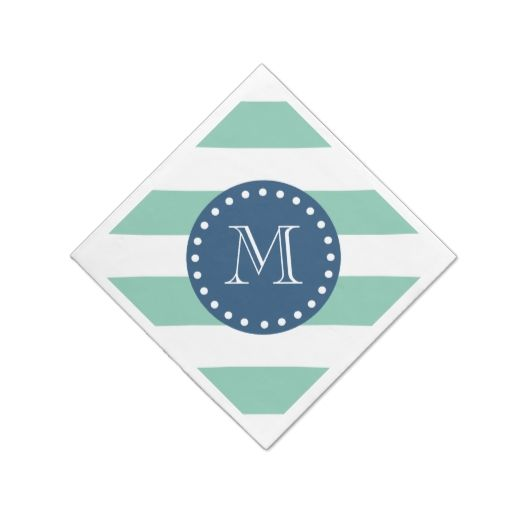Mint Green Stripes Pattern, Navy Blue Monogram Disposable Napkin