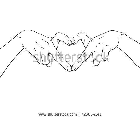 Sketch Of Hands Showing Heart Shape Gesture Made Of Fingers Hand