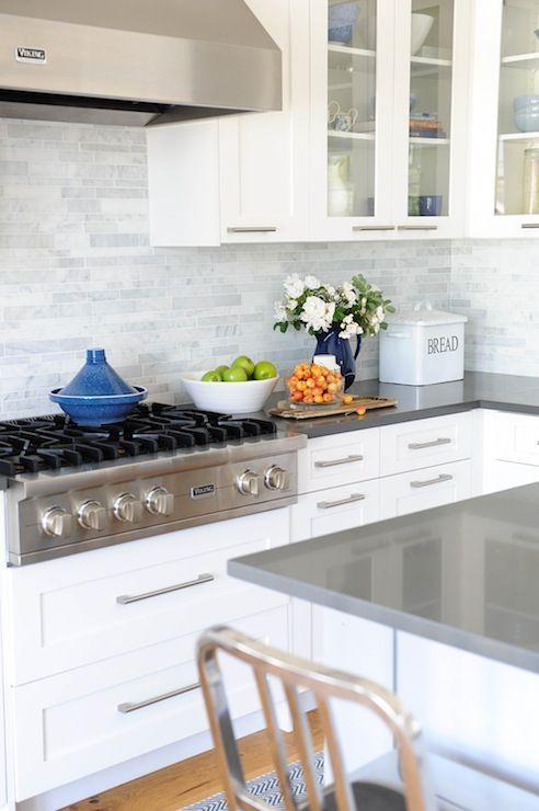 White Cabinets Marble Linear Backsplash Gray Quartz Kitchen