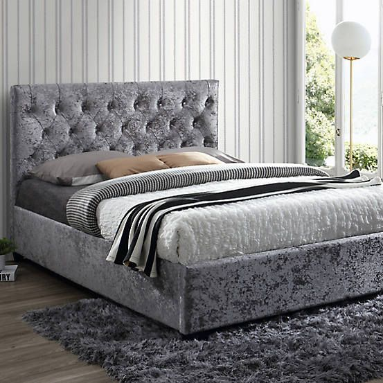 Peachy Cologne Crushed Velvet Upholstered Bed Frame By Birlea In Alphanode Cool Chair Designs And Ideas Alphanodeonline