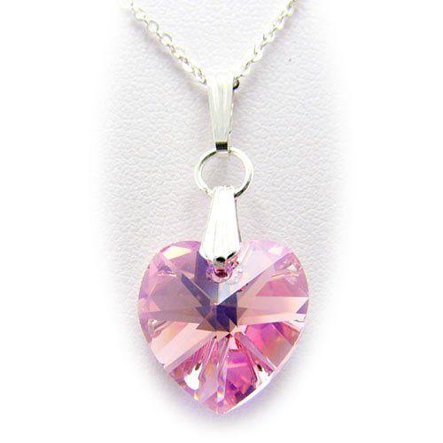 Pink swarovski crystal heart pendant sterling silver cable chain pink swarovski crystal heart pendant sterling silver cable chain necklace for child 14 inch pendants by joyful creations aloadofball Images
