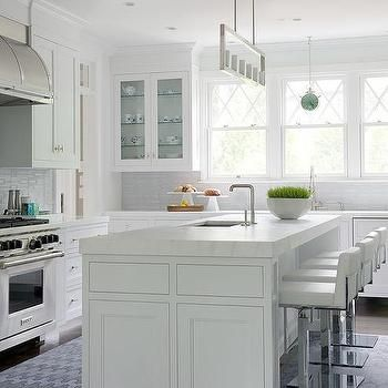 White Kitchen Island With Thick Marble Countertop And White