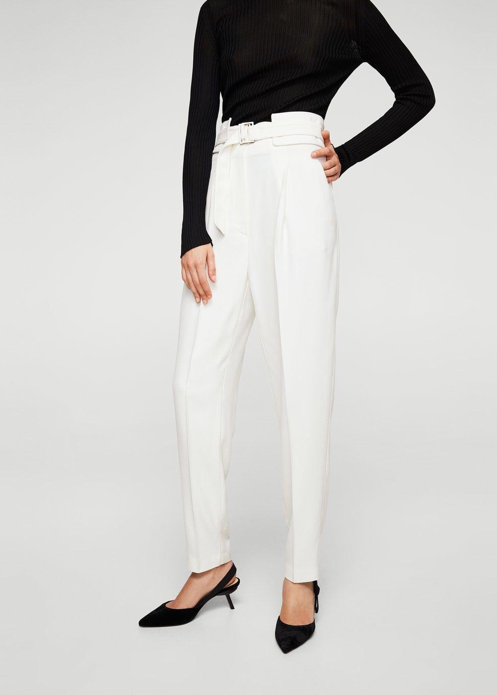 bd6d5e0be1f6b Pantalon laine ceinture - Femme | MANGO France Zara Soldes, Ceinture Femme, Pantalon  Droit