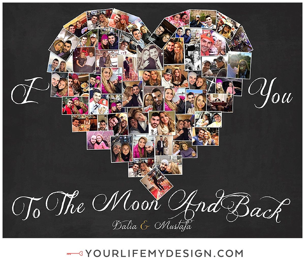 11x14 With 56 Heart Collage I Love You To The Moon And Back Heart