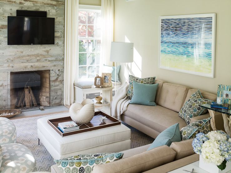 amazing living room built ins reclaimed wood tv | Cottage living room features reclaimed wood fireplace ...