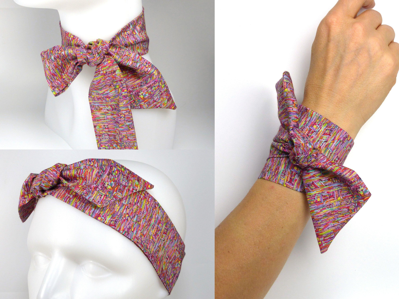 3 en 1 Twilly Liberty  Bandeau à Cheveux, Bracelet, Foulard - Headband,  tour de cou, rose, lila, jaune, vert, bleu, mauve, orange de la boutique ... 91ec20ca045