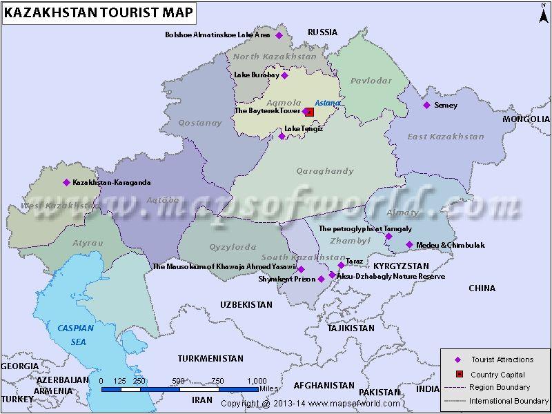 Kazakhstan tourist attractions map | Maps | Kazakhstan ...