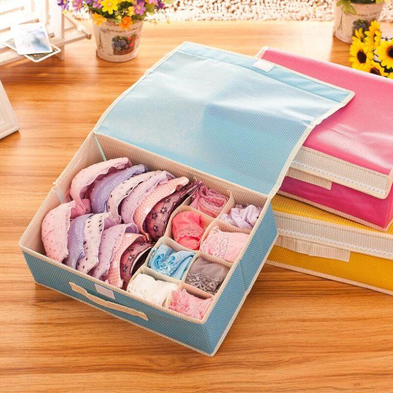 Bra Organizer Storage Drawers Underwear Storage Boxes Non Woven Covered Bra  Combo Grid Wardrobes Organizers