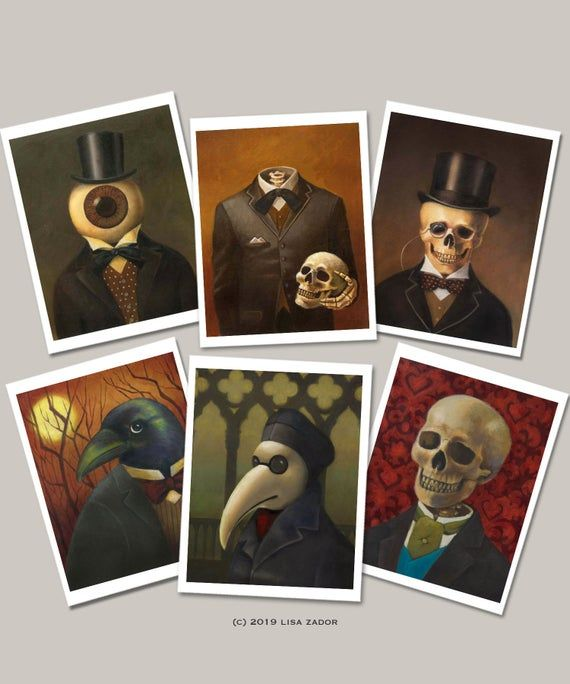 Gothic Notecards – Victorian Steampunk -Skeleton Cards – Halloween Cards