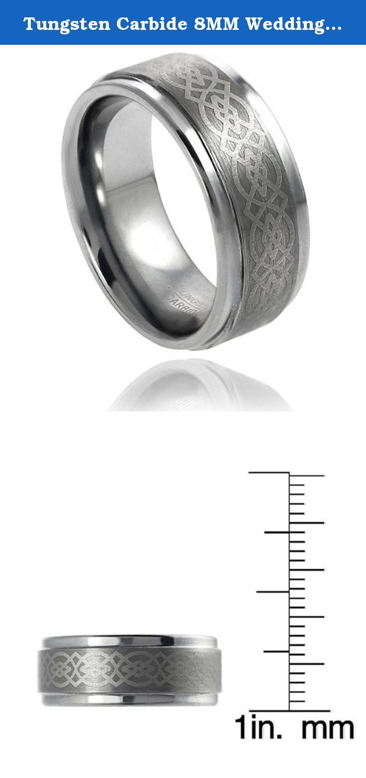 Tungsten Carbide 8MM Wedding Band Ring With Laser Etched Celtic Knot Design (7). Claddagh is a tungsten carbide ring polished. The Celtic design is laser designed into knot work that outlines the Claddagh design. The Claddagh ring is a traditional Irish ring, given in friendship or worn as a wedding ring. The customs associated with the Claddagh ring were originated in the Irish fishing village of Claddagh. Designs are older then 17th century.Claddagh is a comfort fit ring... If you are...