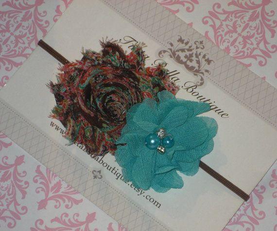 Teal & Brown Flor Headband, Baby Headband, Aqua Pérola Chiffon Flor, Criança Faixa de Cabelo, Criança Faixa de Cabelo, Faixa de Cabelo recém-nascido, Rosa Laço de Cabelo