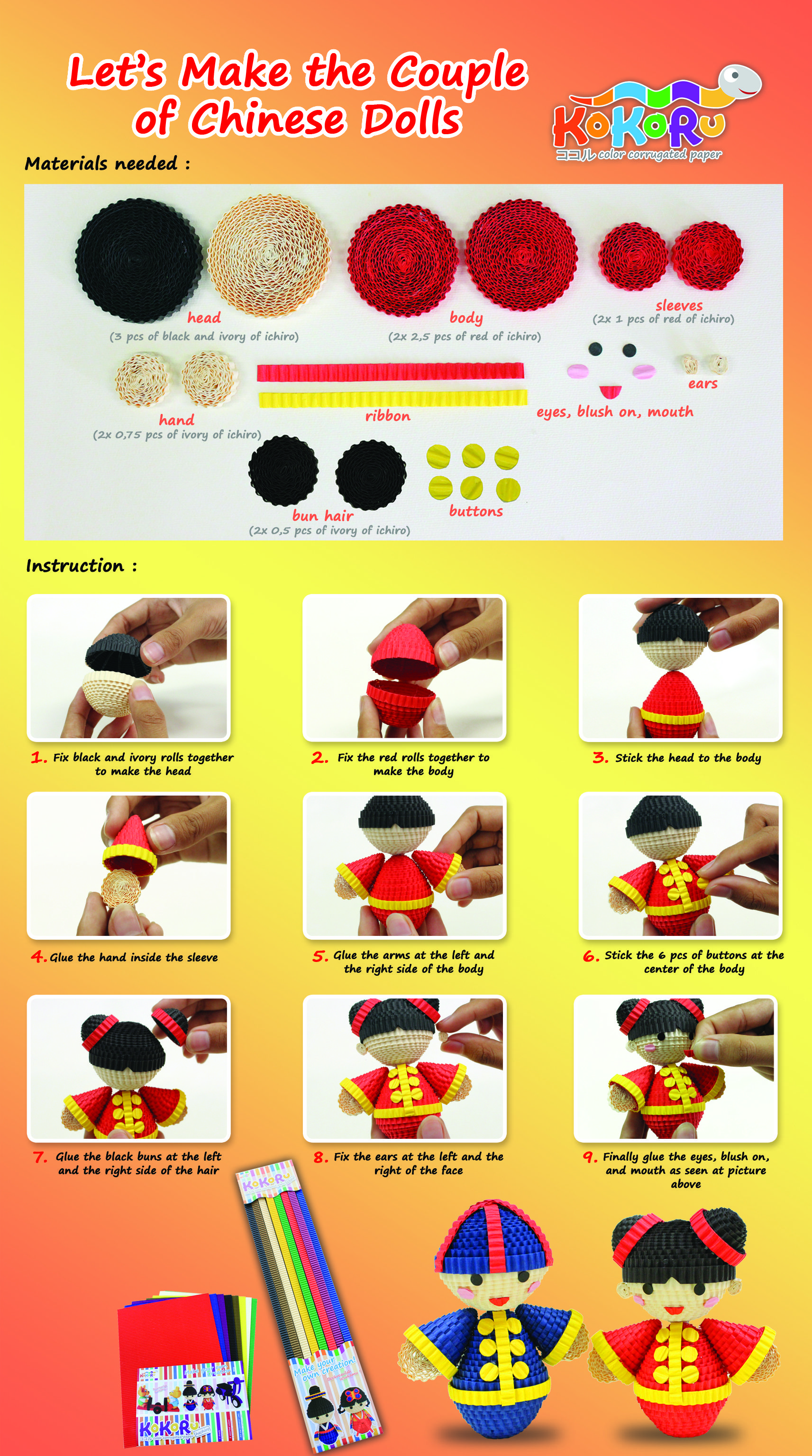 How To Make Chinese Doll Kokoru Seni Kerajinan Kertas Orang Cina