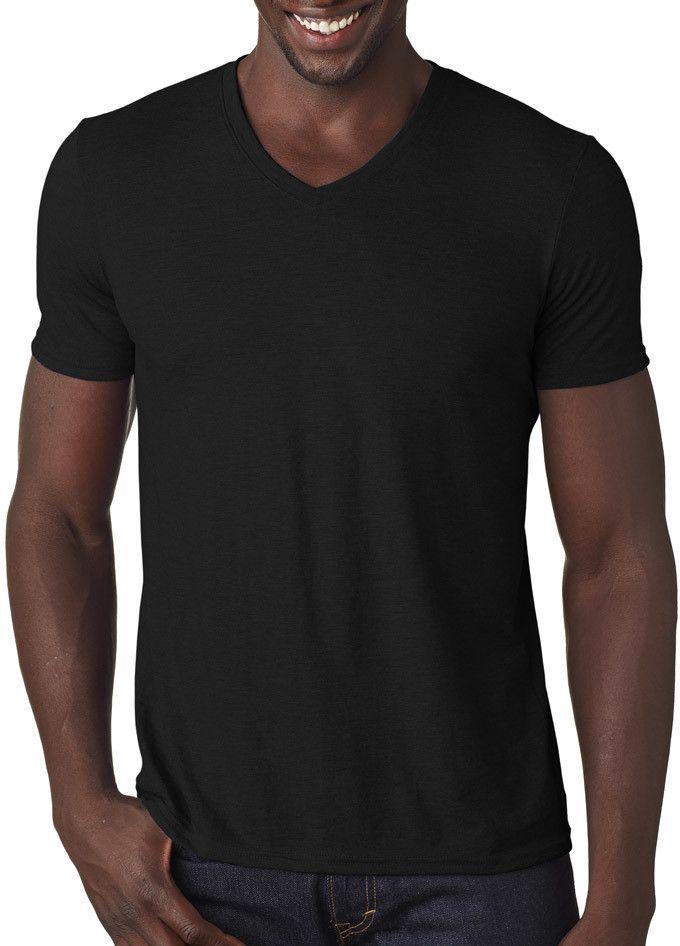 anvil adult tri-blend v-neck tee - black (xs)