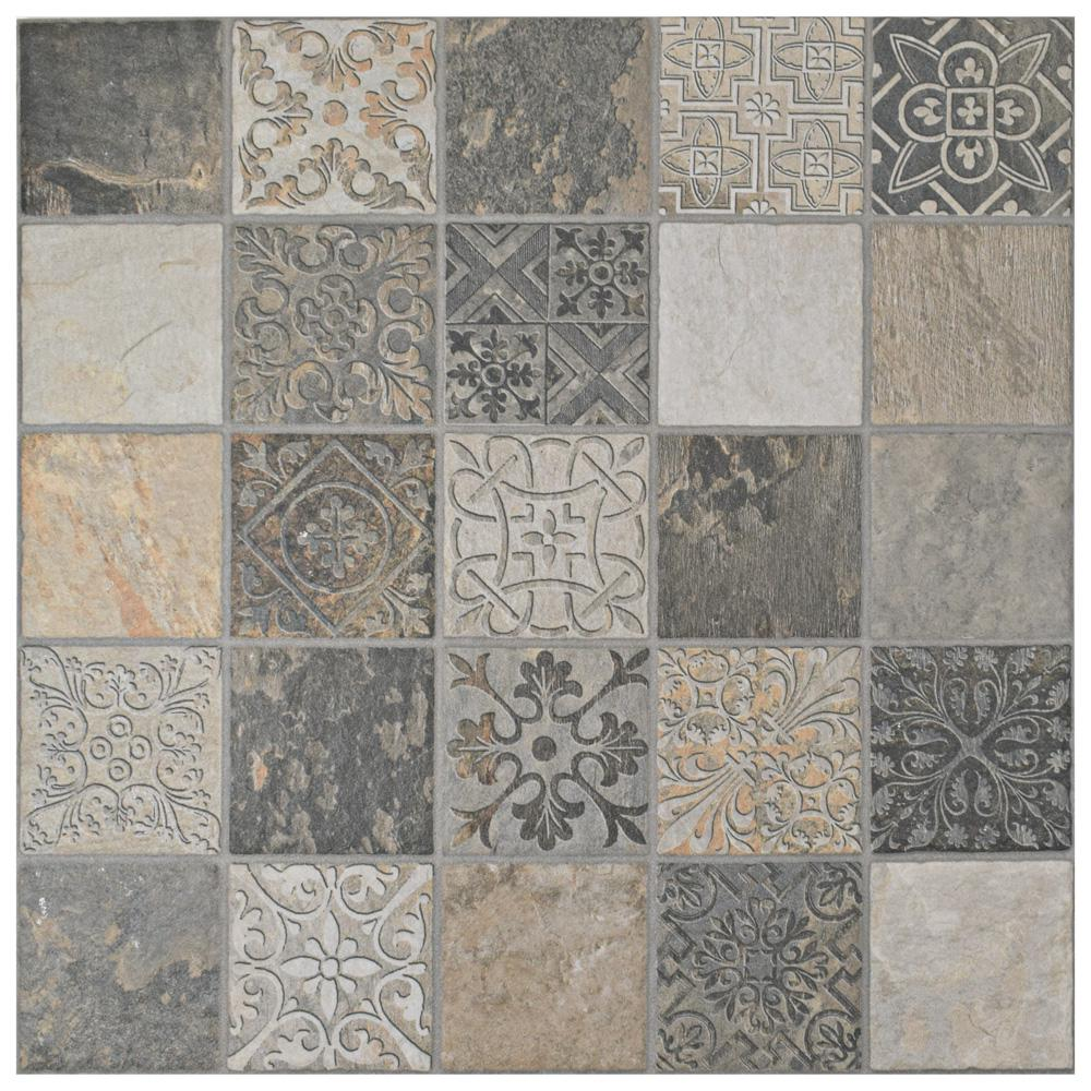 Merola Tile Deco Calzada Ardesia 17 1 2 In X 17 1 2 In Porcelain Floor And Wall Tile 10 94 Sq Ft Case Porcelain Flooring Wall Tiles Flooring