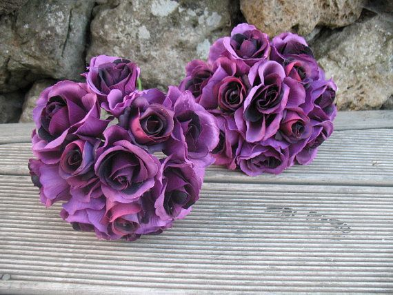 SILK Rose Bouquet Purple with purple. by Keepsakebouquets on Etsy