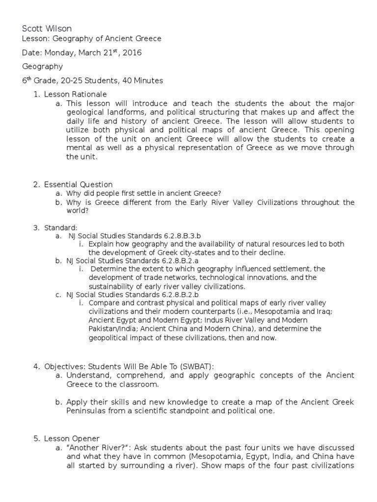 Ancient China Geography Worksheet Greece Geography Lesson Plan 3 21 For Website Geography Worksheets Kids Worksheets Printables First Grade Worksheets
