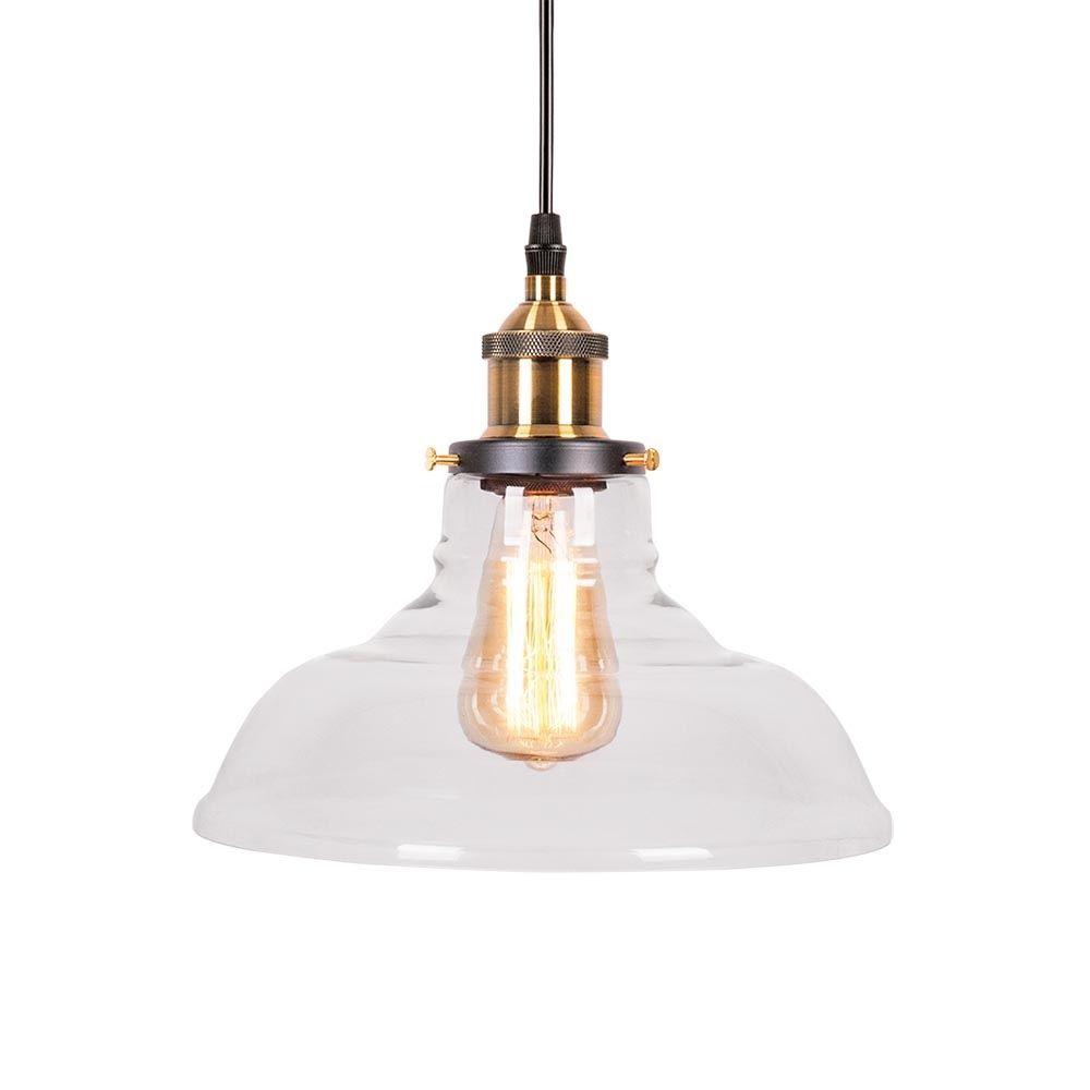 Edison factory glass bowl pendant light antique gold clear