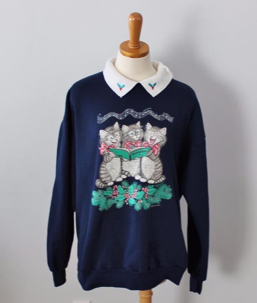 Ugly Christmas Sweater Women 1X Men XL Morning Sun sweatshirt Cat ...