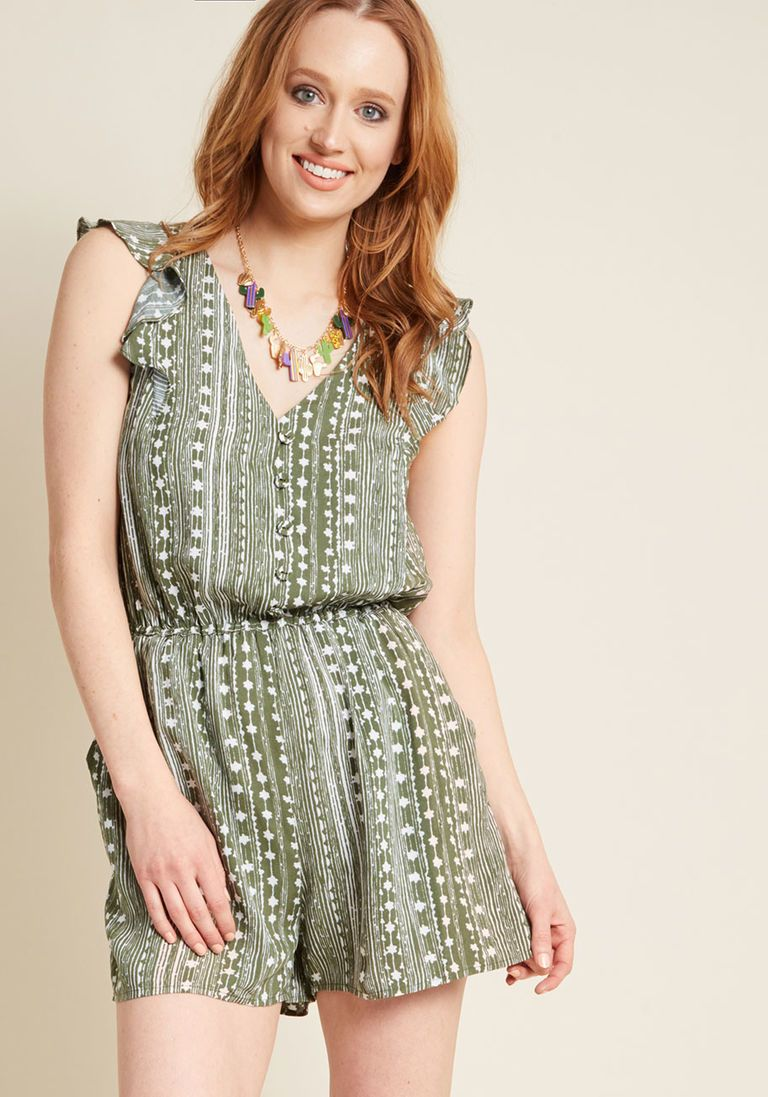 62b70dd5861b Anywhere and Everywhere Romper in Striped Olive in 2X - Short Length by  ModCloth