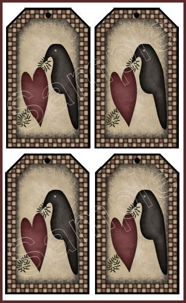 Printable Primitive Crow Patterns Set of 4 Large A Crow In Love