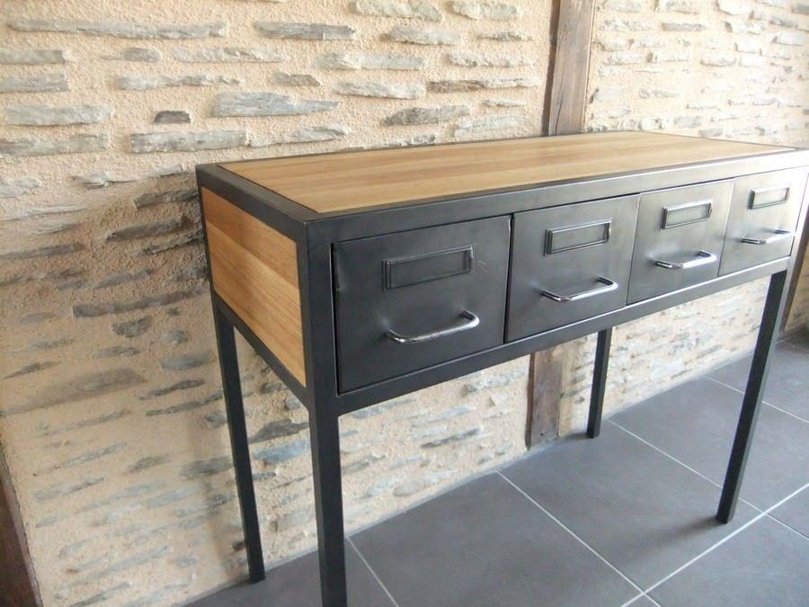 Console acier ch ne et tiroirs fiches de m decin cr ation restauration de meuble - Restauration meuble industriel ...