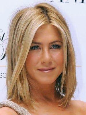 Media Melena Liso Jennifer Aniston Frisuren Haar Styling Haarschnitt Mittellange Haare