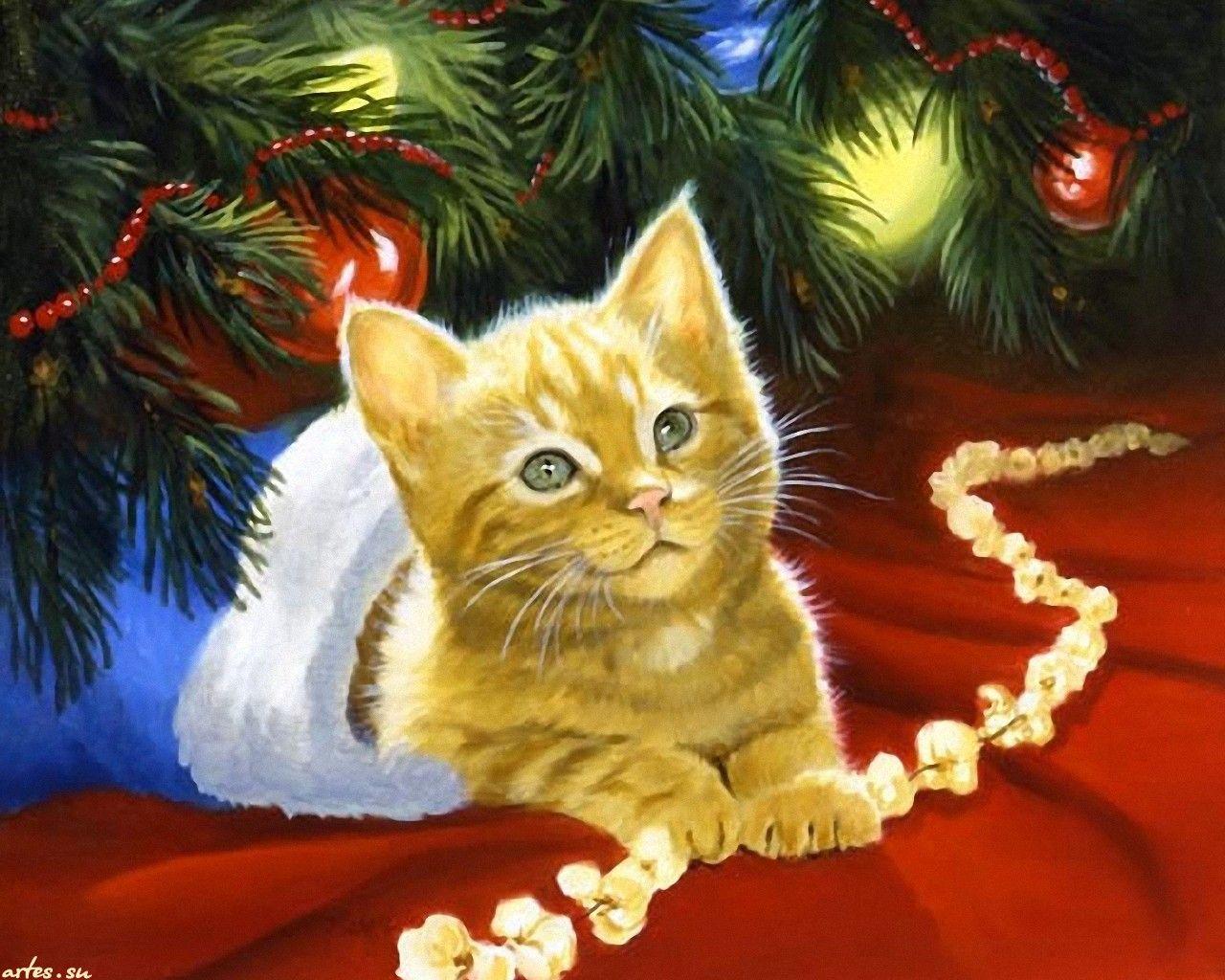 графика поздравление на новый год рисунок карандашом котики пояснила