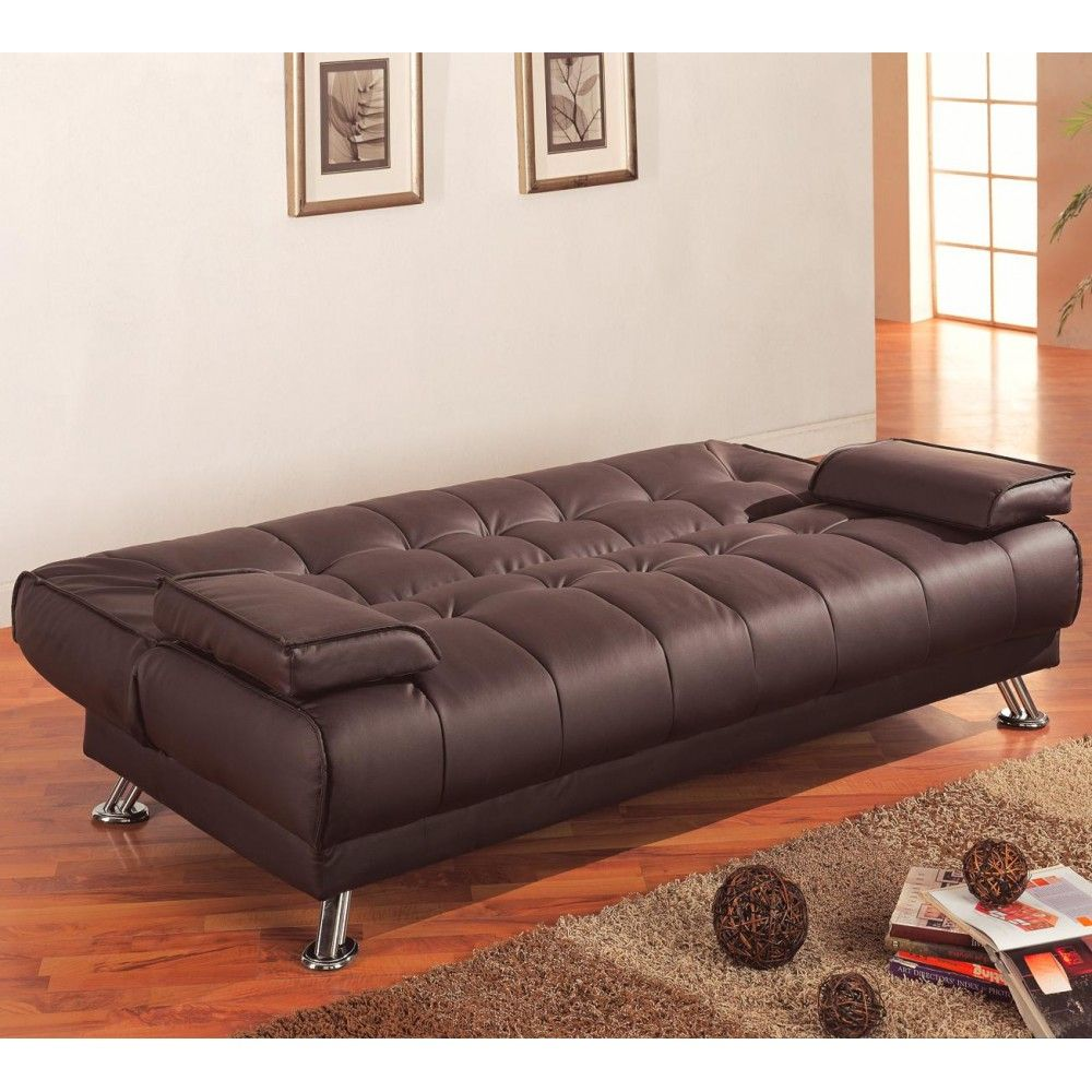 Leatherette Convertible Sofa Bed With Removable Armrests Sofa