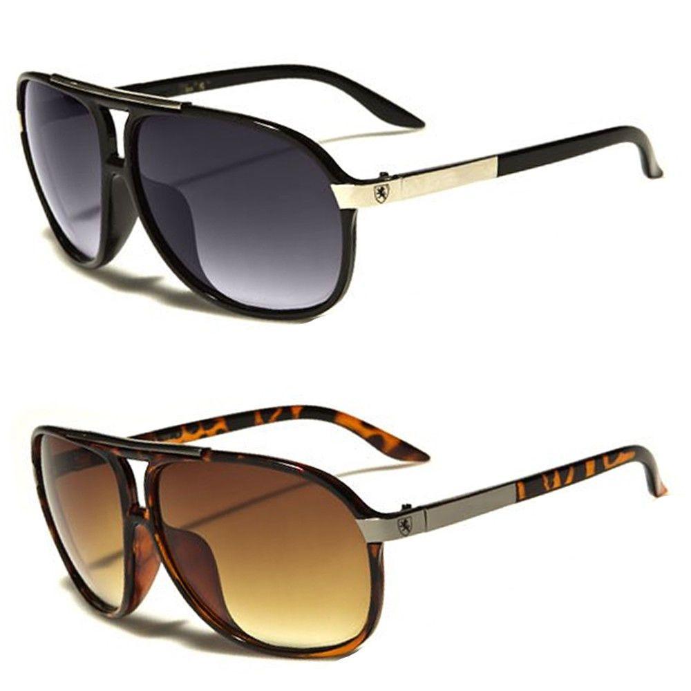 80s Men Retro Vintage Classic Fashion Designer Aviator Sunglasses Black Gold New