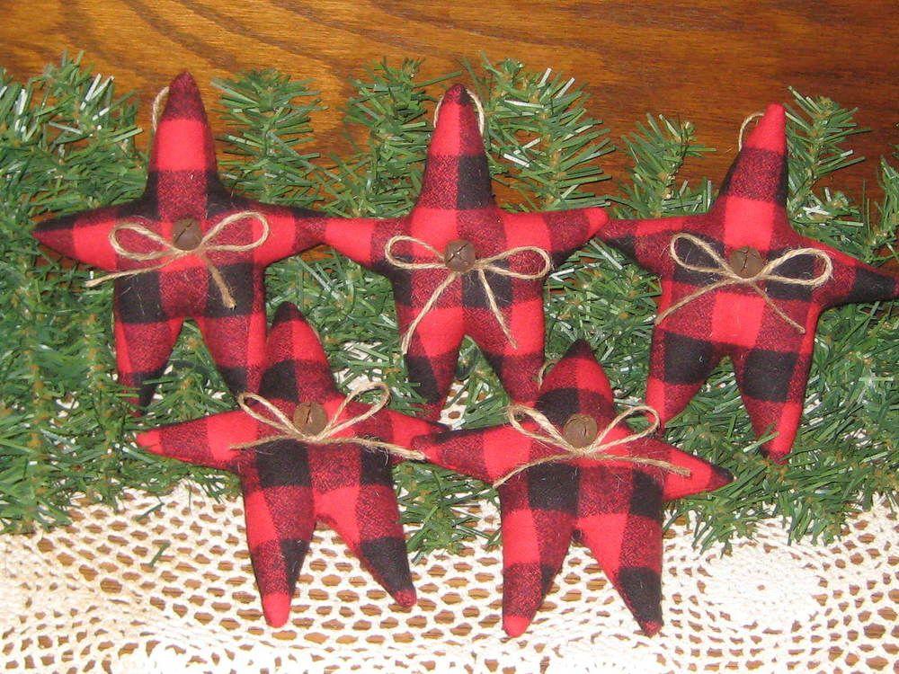 5 Handmade Buffalo Plaid fabric Stars Bowl Fillers Country Christmas