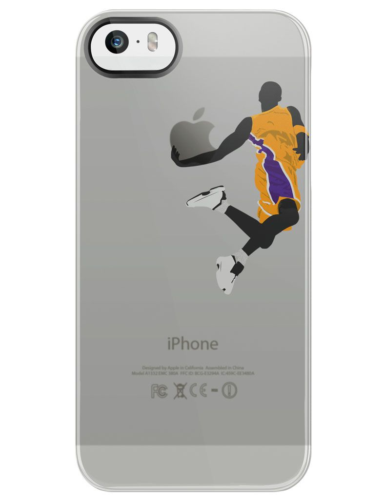 lebron dunking apple logo case. this basketball themed case can catch the attention of any athelete. flat colored person lebron dunking apple logo o