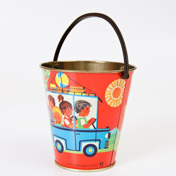 Vintage Tin Pail  Kids Nursery Room Decor  Made in GDR by isantiik