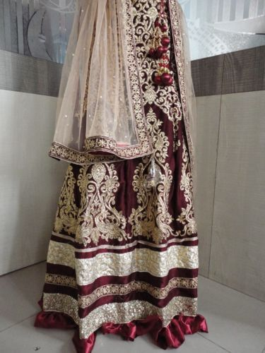 Designer-Wear-Maroon-Color-Heavy-work-Velvet-Lehenga-Choli