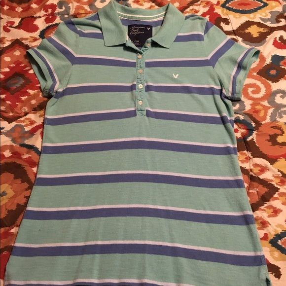 AE Striped Polo Ladies XL AE Striped Polo Ladies XL American Eagle Outfitters Tops Blouses