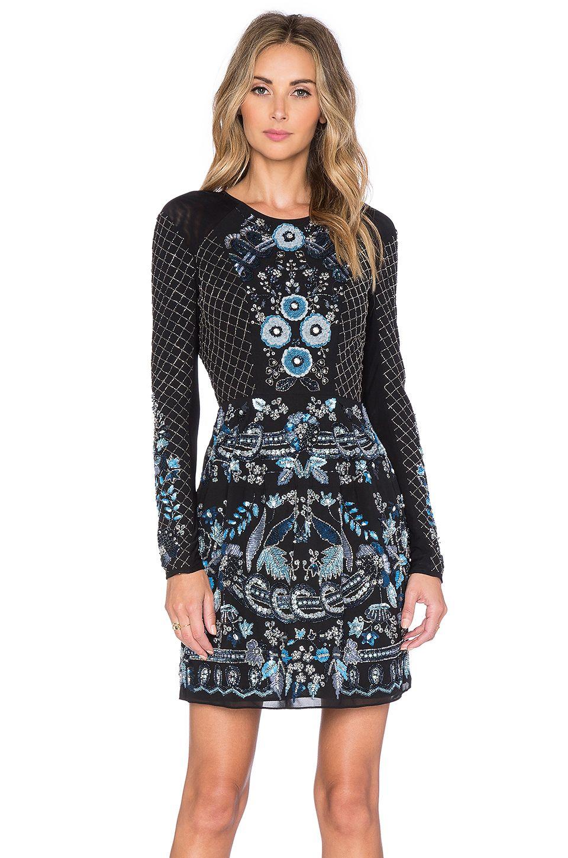 Dress lace dress long dress black dress sequins lace blue dress - Needle Thread Lace Mesh Long Sleeve Mini Dress In Black Midnight
