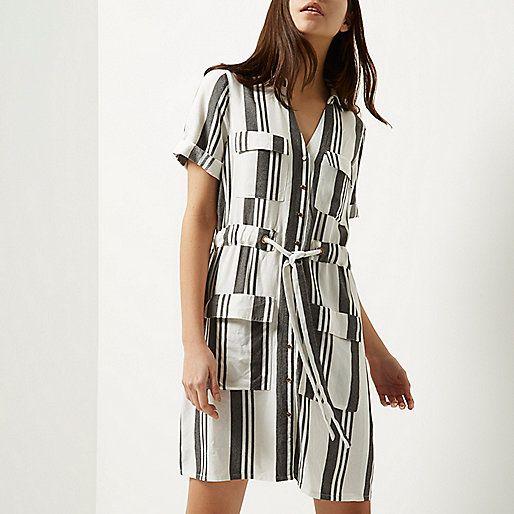 cfb34af020 Cream stripe shirt dress - shirt dresses - dresses - women